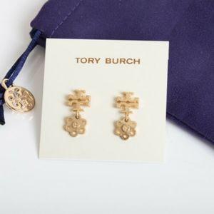 Nwot Tory Burch logo flower earrings